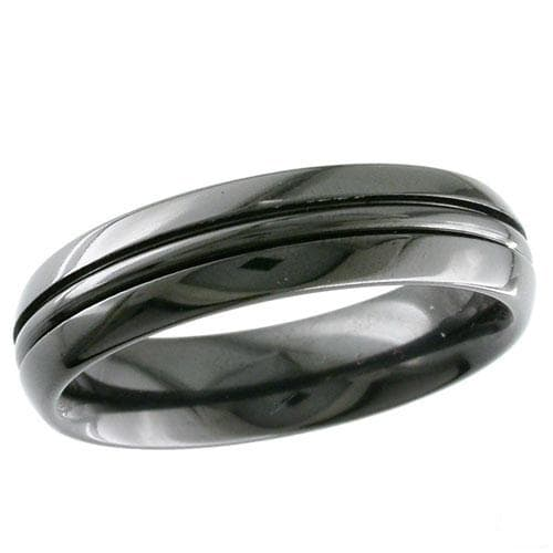Dome profile Black Zirconium Ring