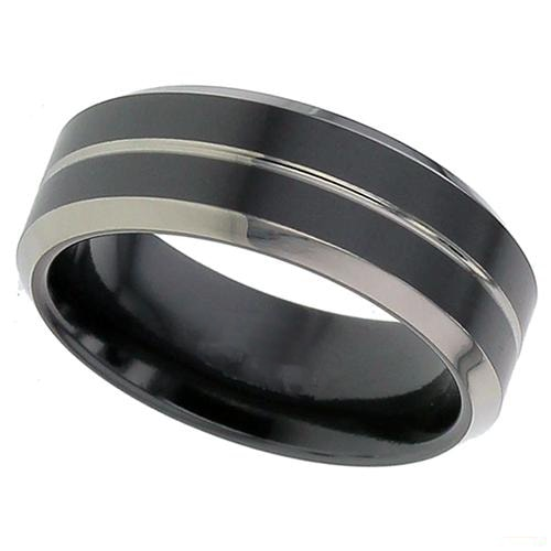 Flat Profile Black Zirconium Ring