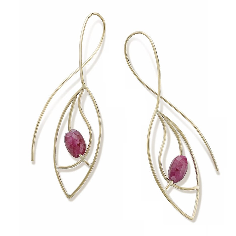 Ruby frond earrings