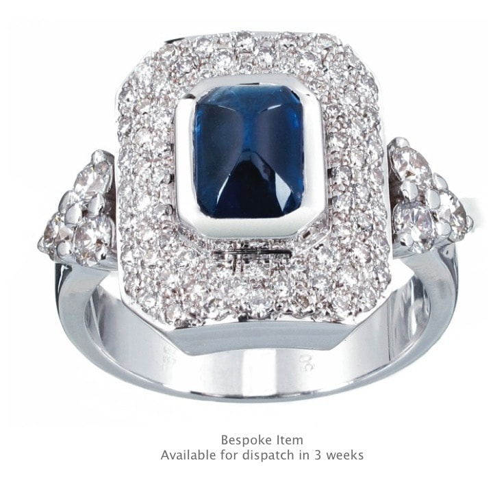 Handmade Diamond and Blue Sapphire Ring
