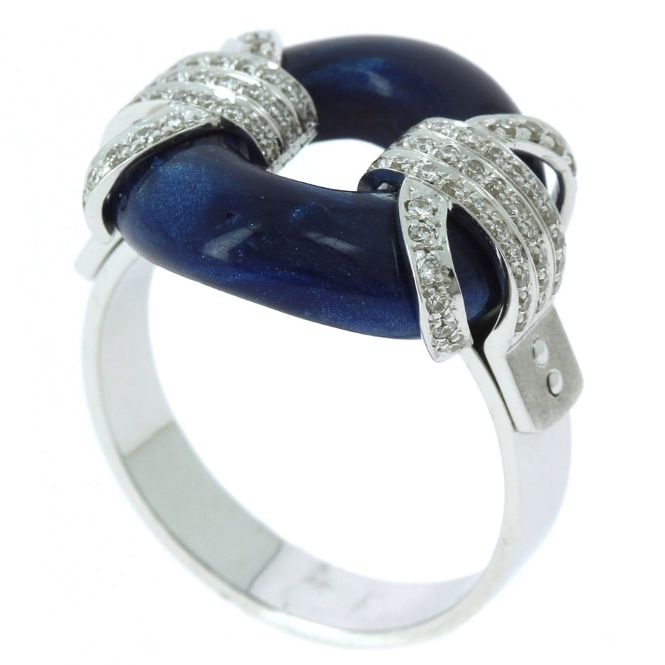 Handmade White Gold Ring Blue Liquid Stone