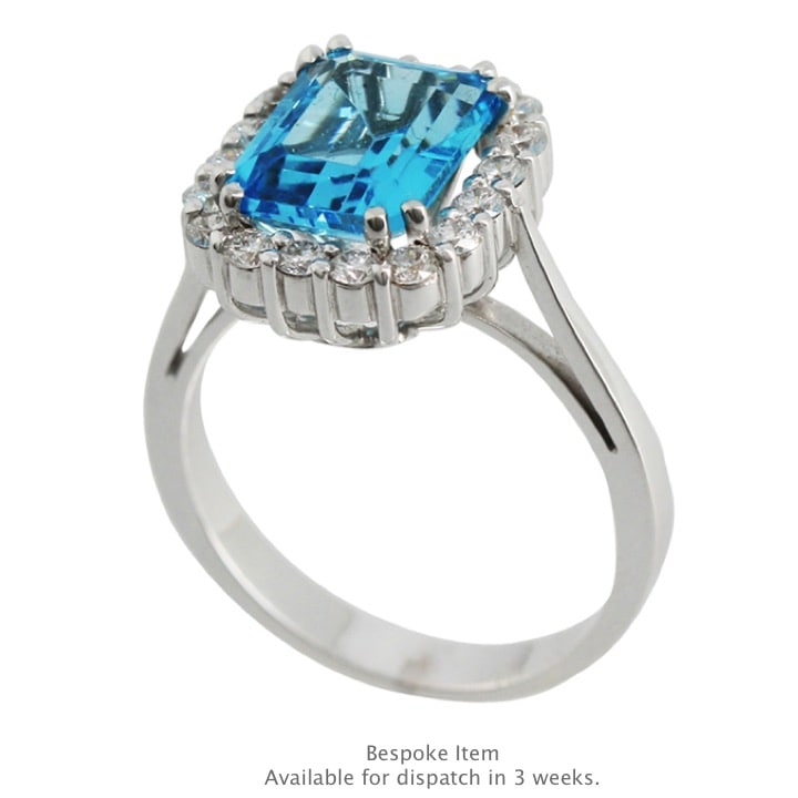 Handmade Blue Topaz | White Gold | Diamond Ring