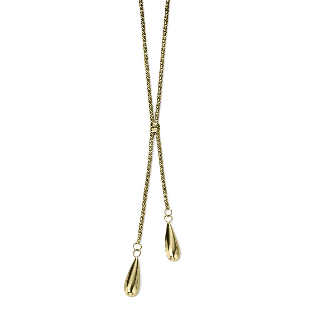 Gold Double Teardrop Necklace