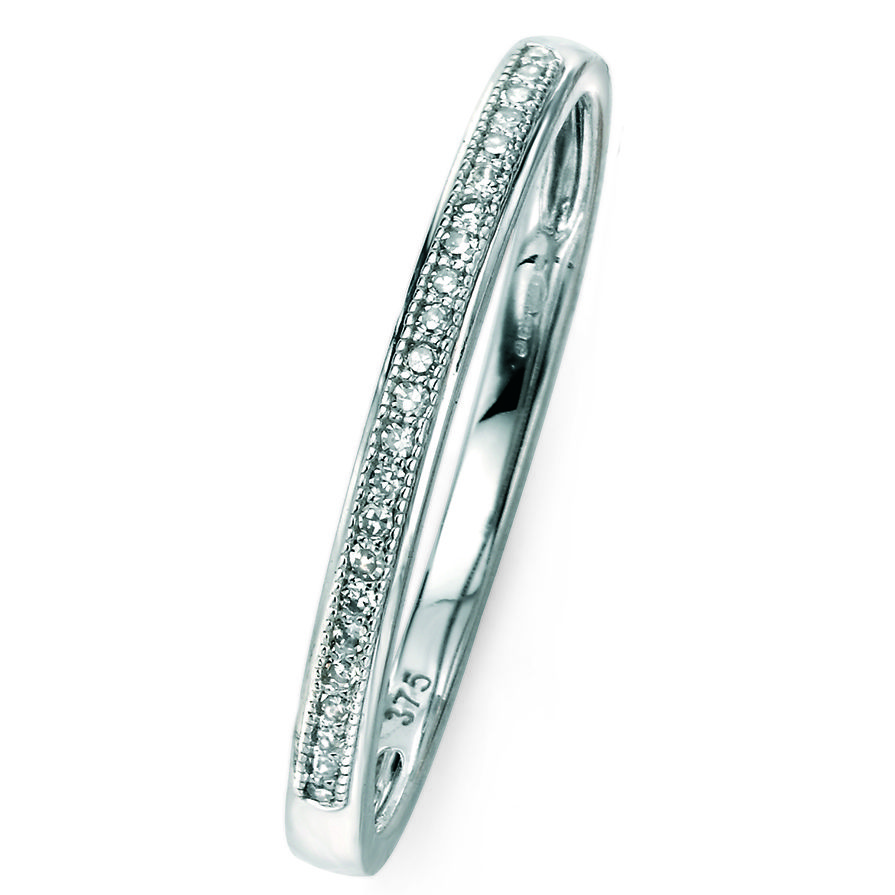White Gold Pave Stacking Ring