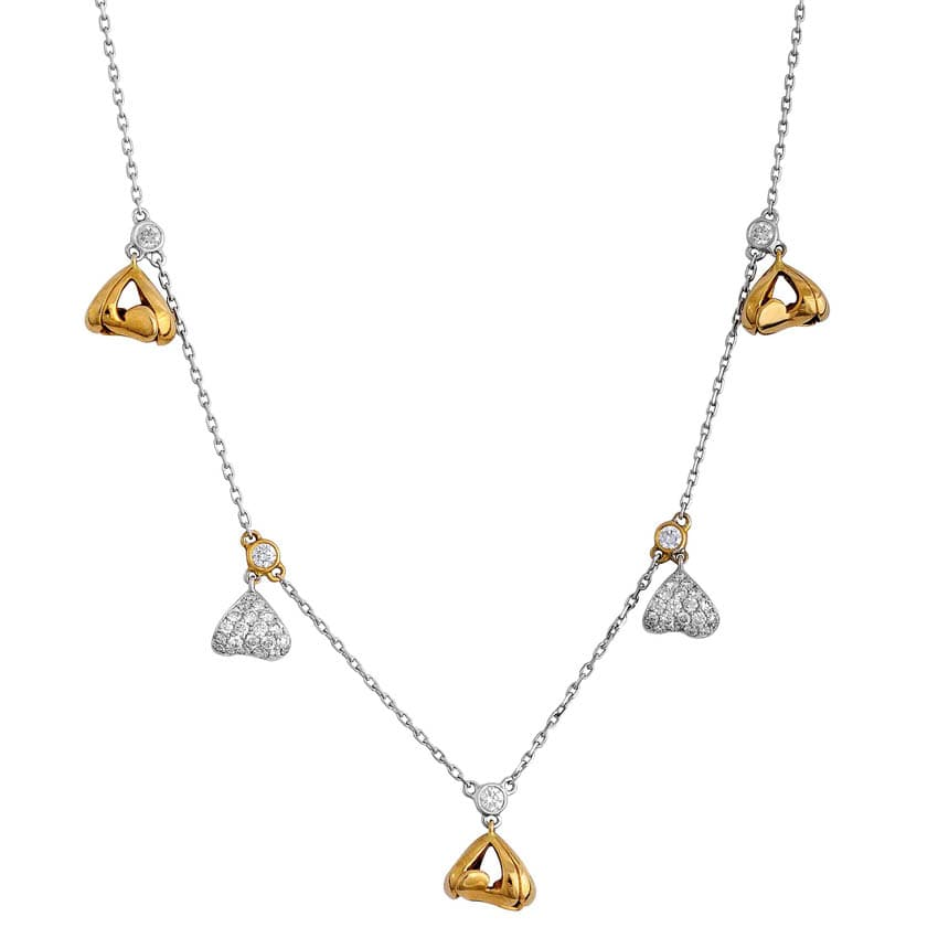 White and Rose Gold Hearts Pendant