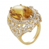 Ornate Oval Citrine and Diamond Ring