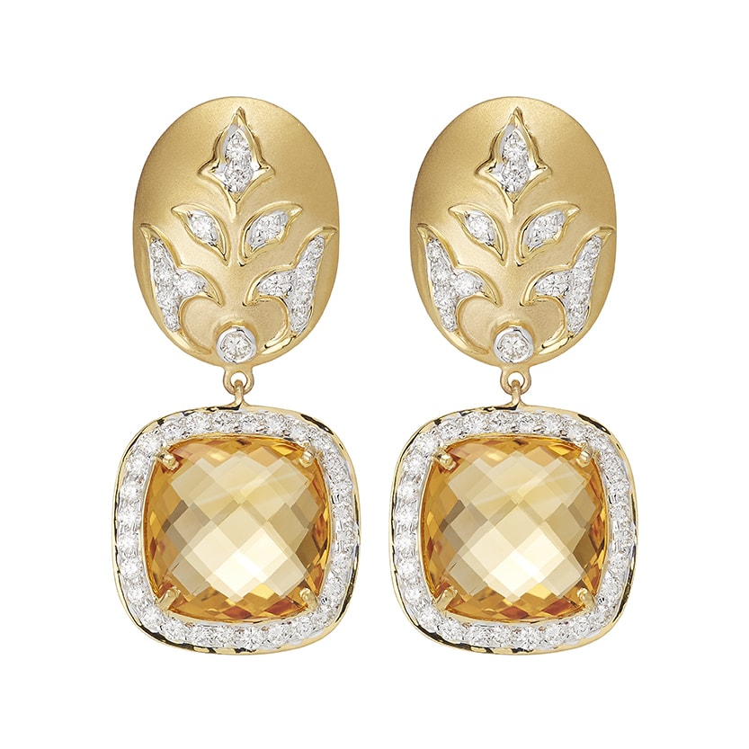 Ornate Cushion cut Citrine Earrings