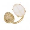Rose Quartz and Pave Diamond Ring