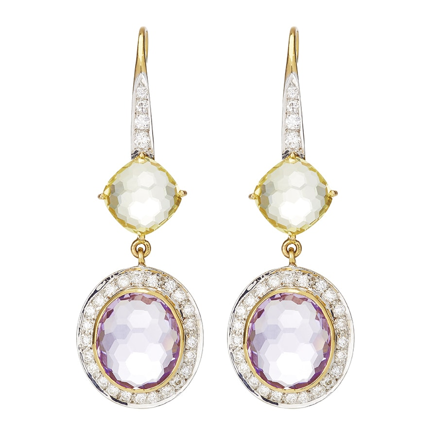 Lemon Quartz, Pink Amethyst and Diamond Earrings