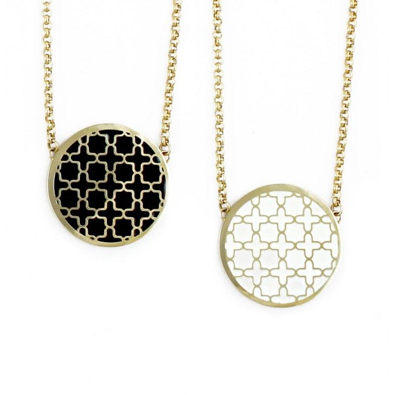 Reversible Black & White Print Long Necklace