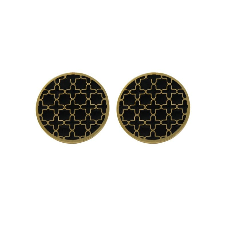 Black Print Stud Earrings