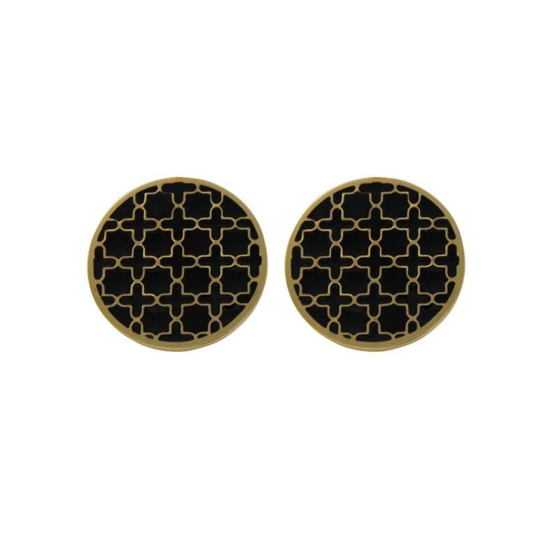 Black Print Stud Earrings
