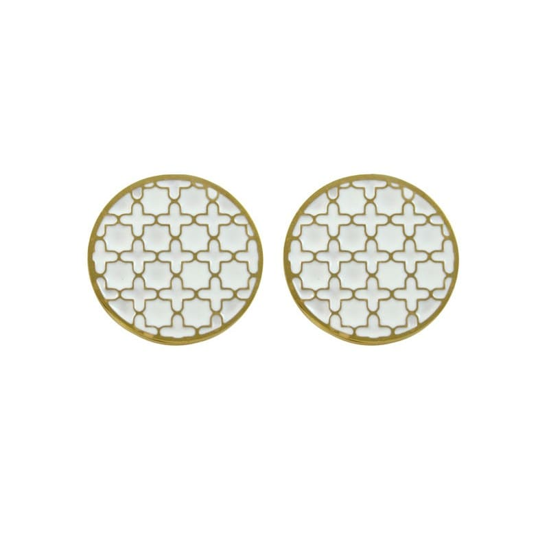 White Print Stud Earrings