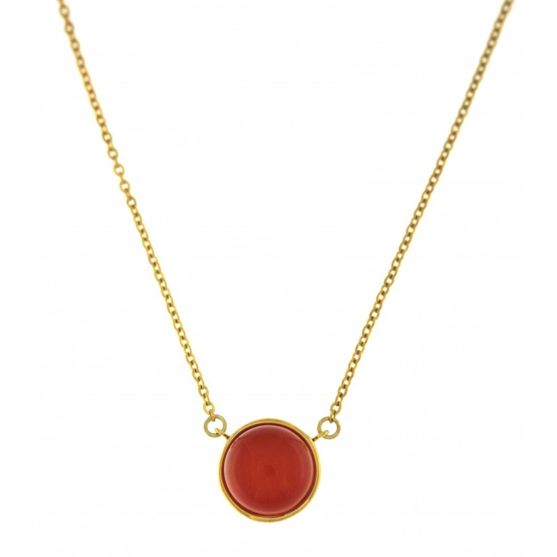 Red Cat Eye Stone Necklace