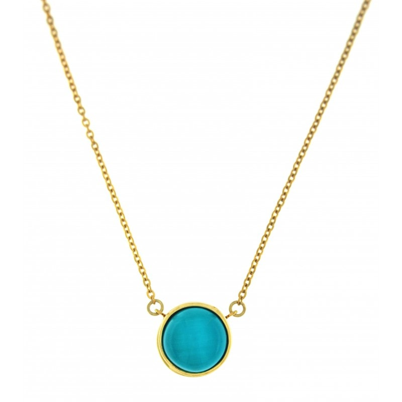 Blue Cat Eye Stone Necklace