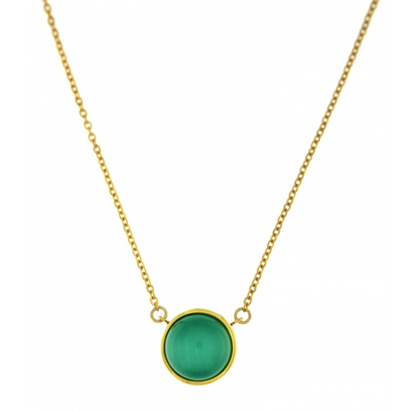 Green Cat Eye Stone Necklace