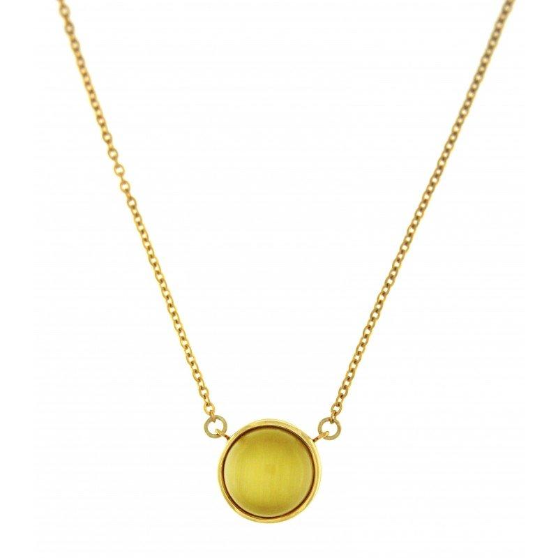 Yellow Cat Eye Stone Necklace