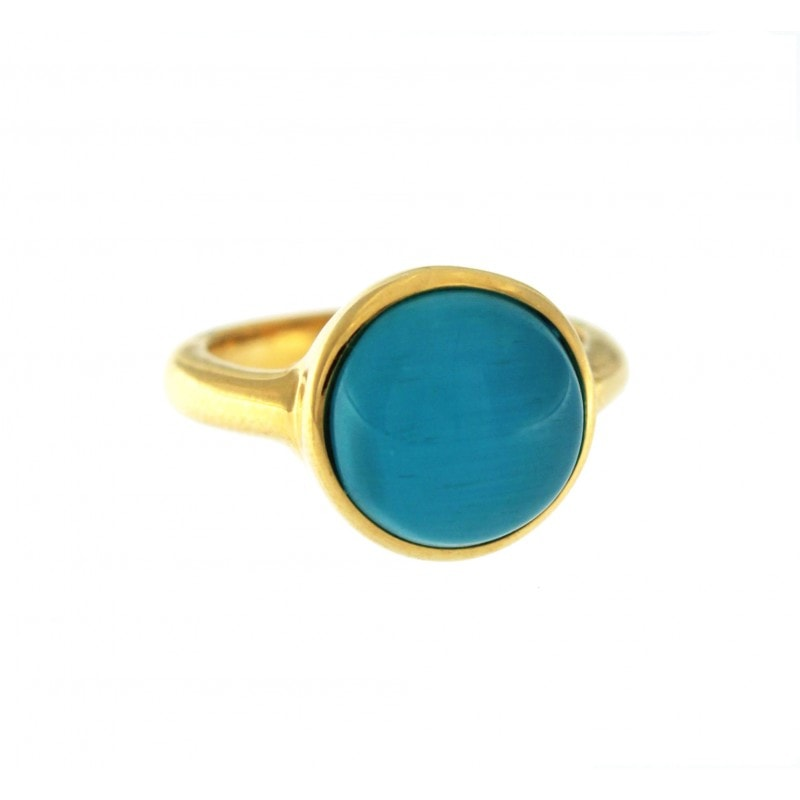 Blue Cat Eye Stone Ring
