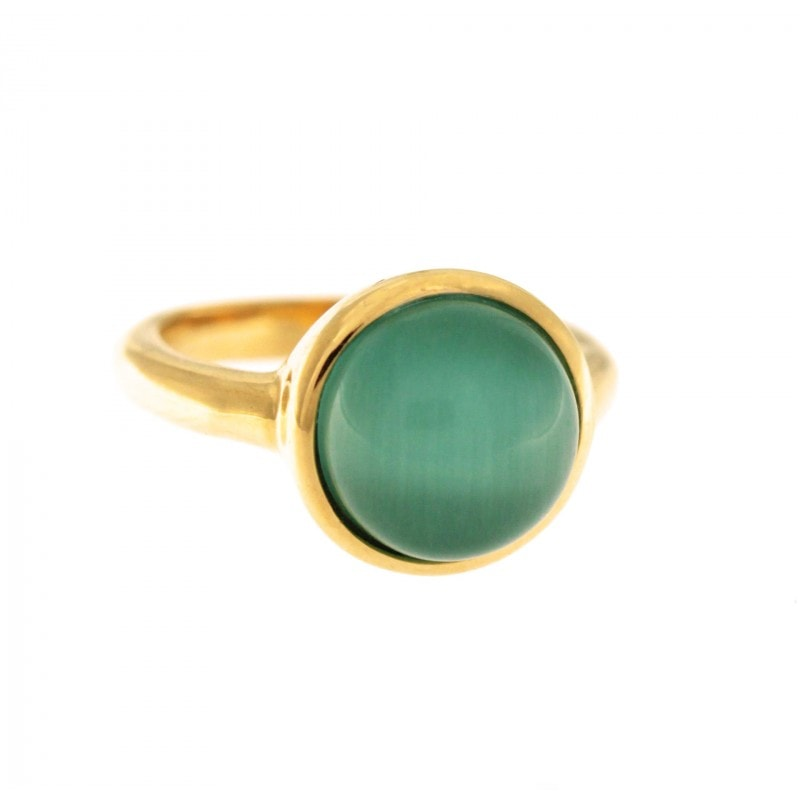 Green Cat Eye Stone Ring