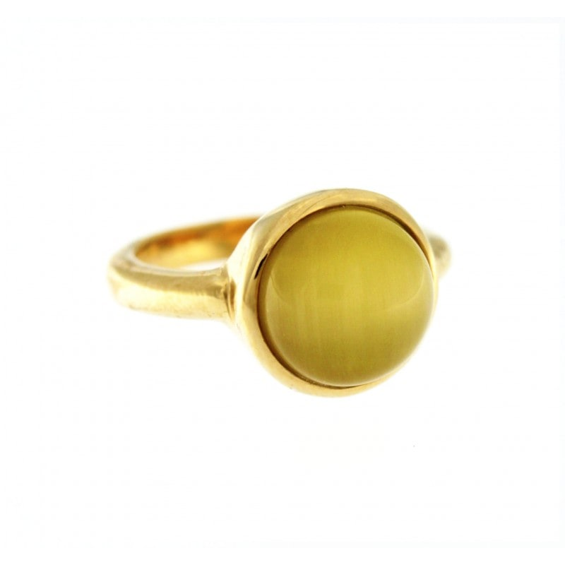 Yellow Cat Eye Stone Ring
