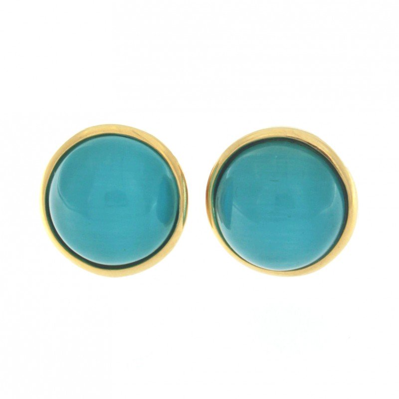 Blue Cat Eye Stone Earrings