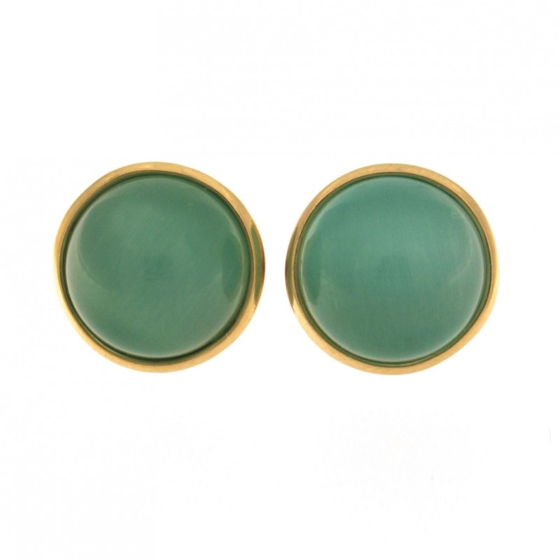Green Cat Eye Stone Earrings