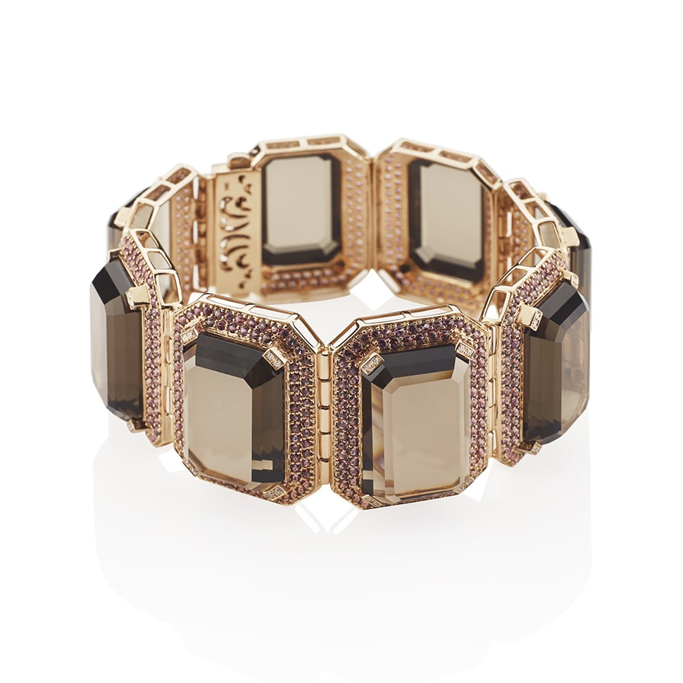 PARAGON Rose Gold Smoky Quartz Cuff Bracelet