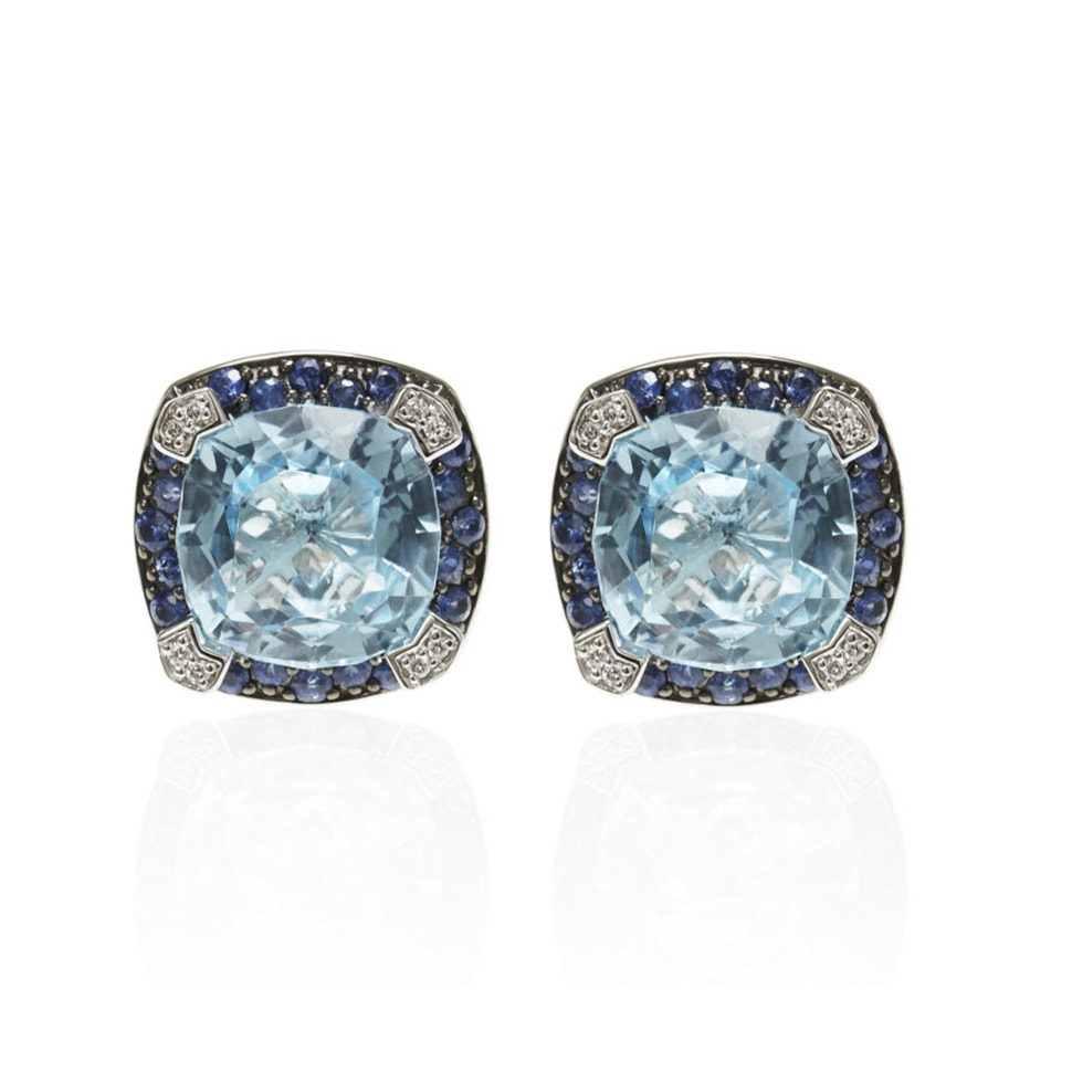 PARAGON Blue Topaz and Blue Sapphire Earrings