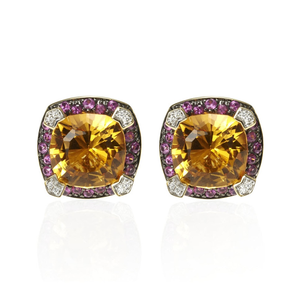 PARAGON Citrine and Pink Sapphire Earrings
