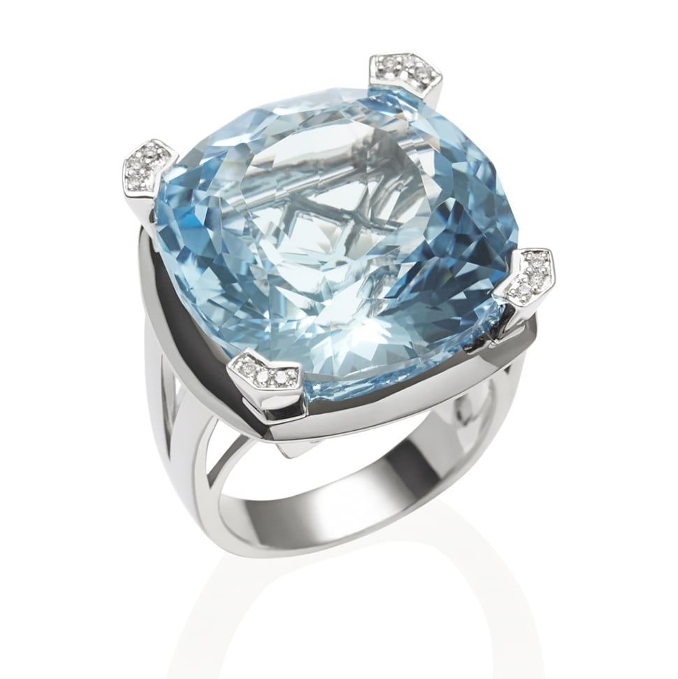 PARADIGM Large White Gold Blue Topaz Ring