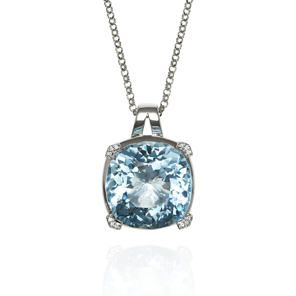 PARADIGM Large White Gold Blue Topaz Necklace
