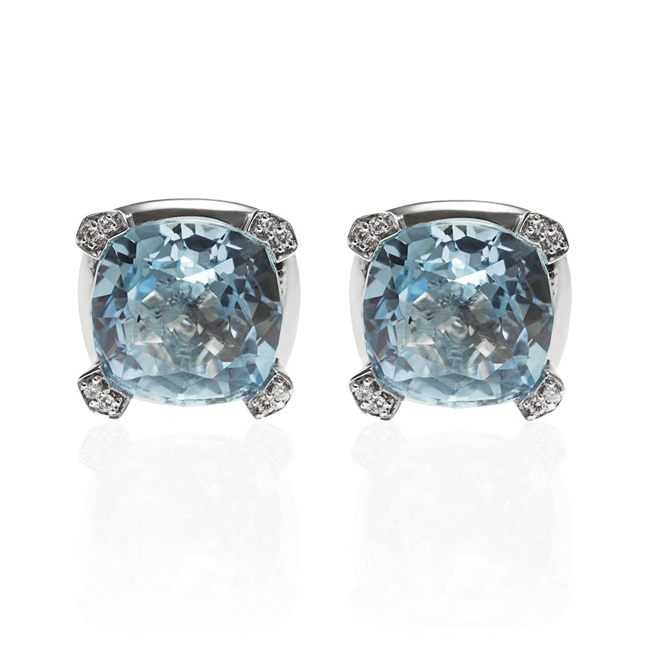PARADIGM White Gold Blue Topaz Earrings