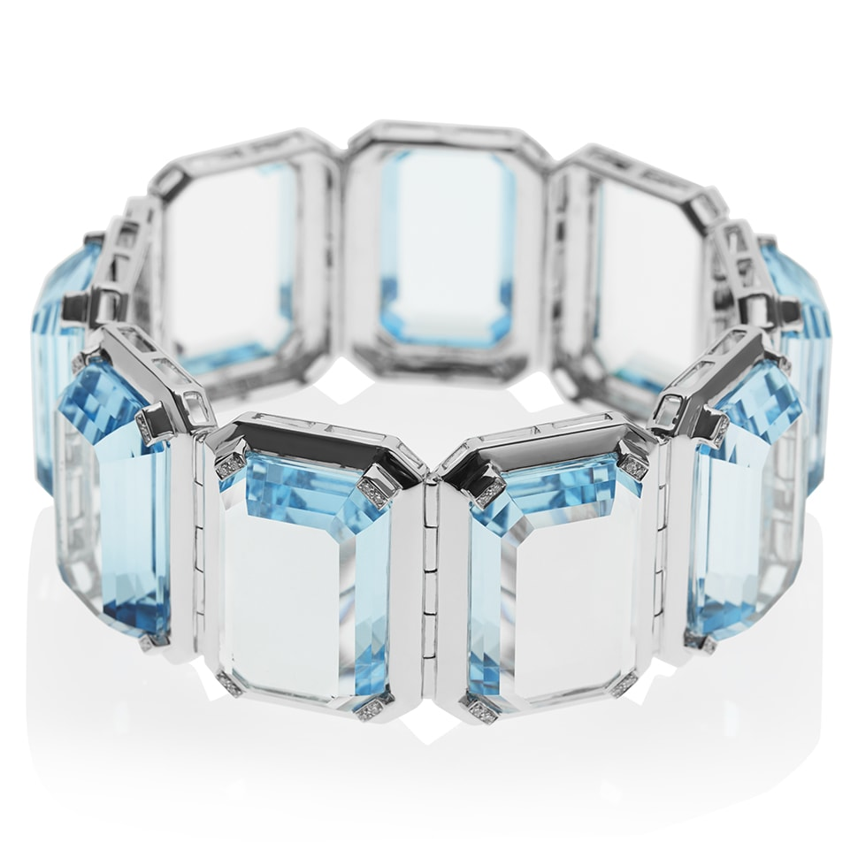 PARADIGM White Gold Blue Topaz Cuff Bracelet