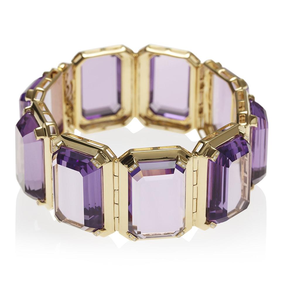 PARADIGM Yellow Gold Amethyst Cuff Bracelet