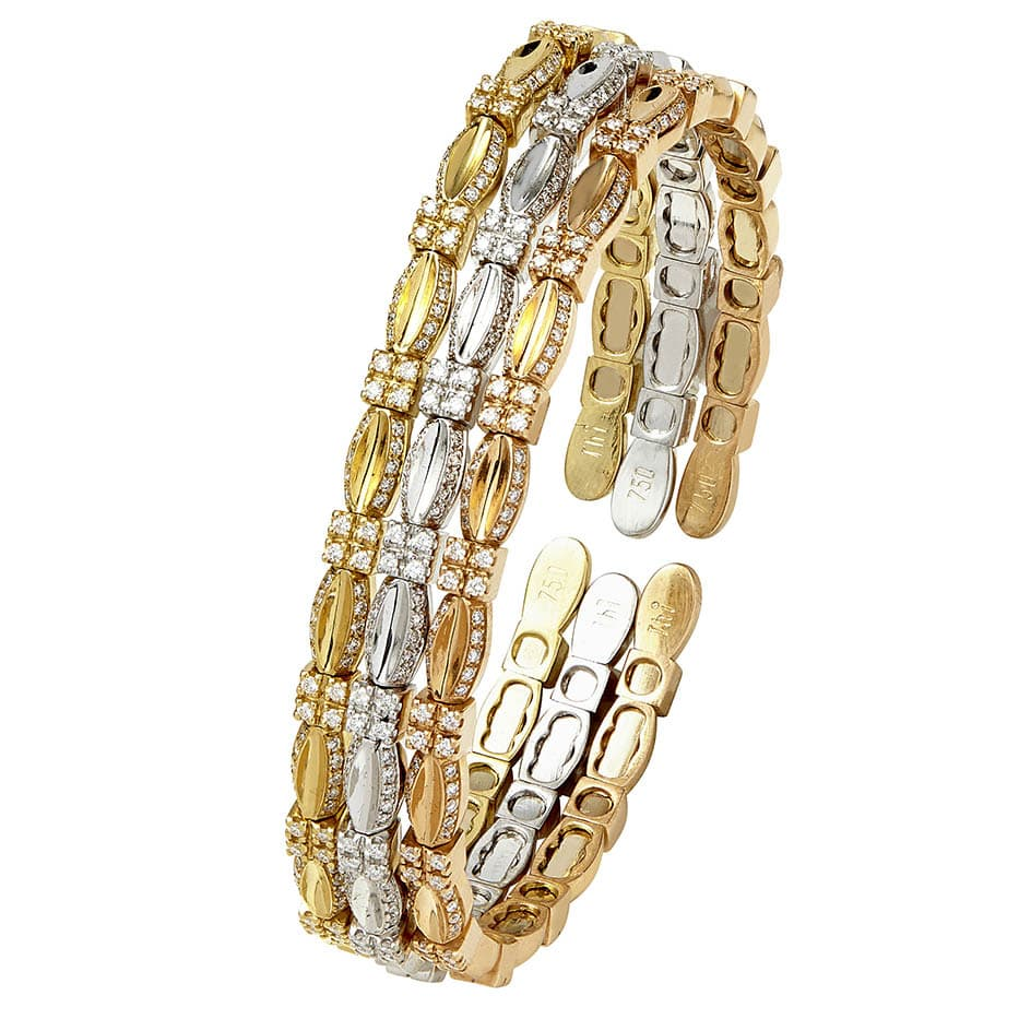 Yellow White Pink Gold Bangle