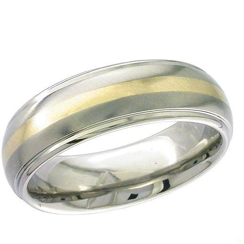 Shoulder cut dome profile Titanium ring